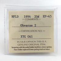 1894 Newfoundland ICCS Graded Extra Fine 45 Obverse 2 Twenty 20 Cents Coin H776