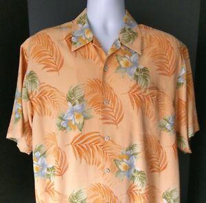 Tommy Bahama Orange Floral Hibiscus Mens Hawaiian Silk Camp Shirt M