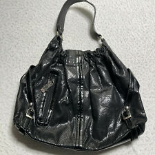 Unlisted Womens Hang Bag Black Shiny Faux Leather Large Adjustable Closure