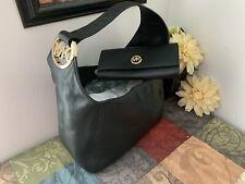 NWT Michael Kors Black Large Fulton Hobo Shoulder Bag & Wallet