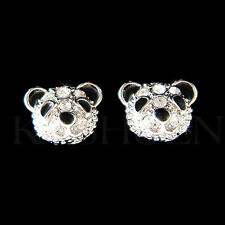 w Swarovski Crystal Black White ~Panda Bear~ Tiny Stud Earrings Chinese New Year