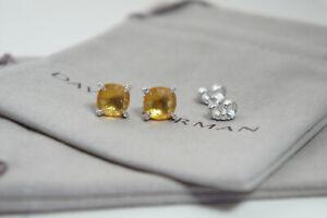 David Yurman 925 Silver 9mm Gold CITRINE Diamond Chatelaine Earring DY Pouch