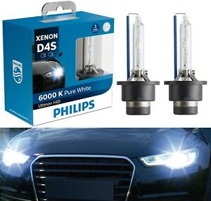 Philips Ultinon HID Xenon D4S 6000K White Two Bulbs Head Light Replace Upgrade
