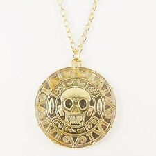 PIRATES OF THE CARIBBEAN AZTEC COIN NECKLACE gold medallion jack sparrow skull