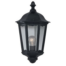 Searchlight 82505BK Alex IP44 Black Half Outdoor Wall Light With Clear Glass