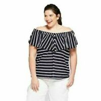 Ava & Viv Plus Size 4X  Navy/White Striped Flounce Off The Shoulder Top Nautical