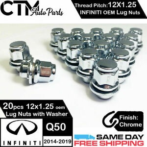 20PC 12X1.25 INFINITI FACTORY OEM CHROME LUG NUTS FOR INFINITI Q50 2014-2019
