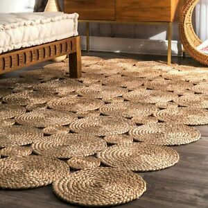 Rug 100% Natural braided jute bohemian hemp rug reversible rustic look decor rug