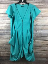 City Chic Women's Turquoise Short Sleeve Zipper Front Casual Dress Size 16W NEW