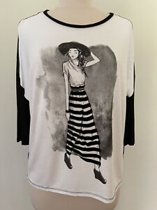 Pimkie Women's Printed Front Sheer Back Long Sleeve T-Shirt - Size M