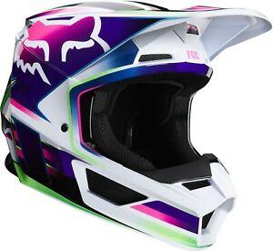 Fox V1 Gama Adult Off Road MX Motocross Helmet - White / Blue / Purple / Green