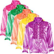 Mens 70s Disco Night Frilly Ruffle Shirt Fancy Dress Party Costume M L XL