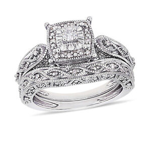 Wedding Engagement Bridal Gorgeous Looking RIng Band Set 14k White Gold Finish