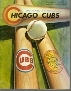 1971 3/24 Spring Training Baseball Program Cleveland Indians Chicago Cubs scored