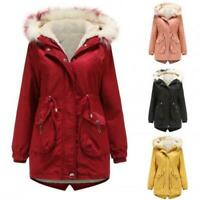 Women Coat Cotton Thicken Hooded Fur Collar Parka Casual Warm Removable Jacket L