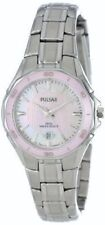 PULSAR PXT899 WOMEN'S DRESS PINK CERAMIC BEZEL PEARL DIAL DATE WATCH