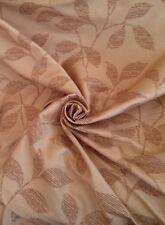 12 Mts Prestigious Designer Velour Flocked Gold Faux Silk Curtain Fabric Leaves