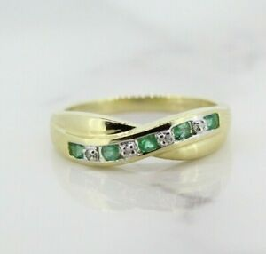 9ct Yellow Gold Emerald and Diamond Eternity Ring (Size L) Offers Welcome