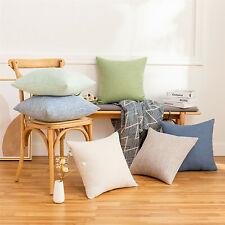 Linen Solid Colour Pillow Covers Cushion Cover Home Throw Pillow Case Home Decor
