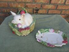 Nib Fitz and Floyd French Market Covered Pig Vegetable Bowl And Canape Plate