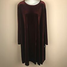 Jamie Brooke Woman Burgundy Velvet Tunic A Line Long Sleeve Dress Plus Size 18