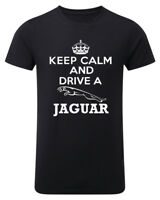 Keep Calm And Drive a Jag Mens Unisex T-shirt Womens Funny Top Black