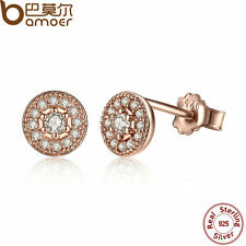 Bamoer Luxury S925 Sterling Silver Stud Rose Gold Earrings With AAA CZ For Women
