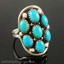 NATIVE AMERICAN NAVAJO HANDMADE STERLING SILVER & TURQUOISE CLUSTER RING