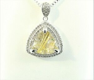 "RUTILATED QUARTZ & TOPAZ ACCENTS RHODIUM OVER 925 S.S. PENDANT 20"" S.S.CHAIN"