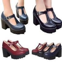 Fashion Platform Heels Ankle Womens Chunky Retro Mary Jane Comfy T-Strap Shoes
