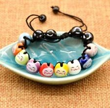 FD4745 Ceramic Lucky Cat Beads Charm Bracelets For Fortune Health Adjustable ♫