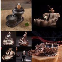 Backflow Ceramic Glaze Incense Stick Cone Smoke Burner Holder Buddhist Decor