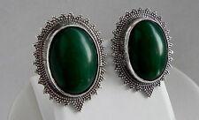 ! Raro! de Colección 32g plata esterlina 925 Verde Piedras preciosas Egipto Completo Clip Pendientes HM
