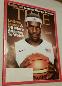 LEBRON JAMES TIME MAGAZINE 4 AUG 2008 SUMMER OLYMPIC PREVIEW - NO LABEL! LAKERS