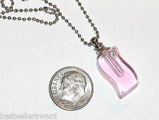 1 Imp Glass Pink Crystal Perfume vial pendant little bottle Screw cap Necklace *