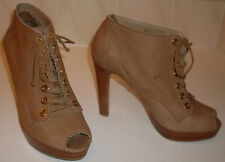 RUSSELL & BROMLEY Weitzman Tan Peep Toe Ankle Shoe Boots Size UK 9 EU 42 RP £245