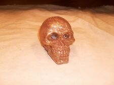 Decorative Cement ~ Illuminate Skull Head Shape Paper Weight ~ Gold