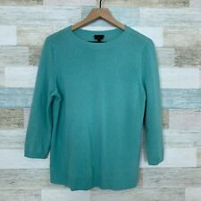 Talbots Pure Cashmere Sweater Blue Mock Neck 3/4 Sleeve RUNS SMALL Womens Large