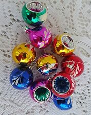 10 Vintage Glass Christmas Ornaments Mini  Miniature Ball Indents Mica Multi Col