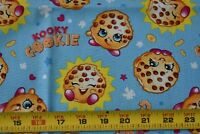 """28"""" Long Tan & Gold Shopkins Cookies on Blue Quilt Fabric/Springs Creative N4520"""
