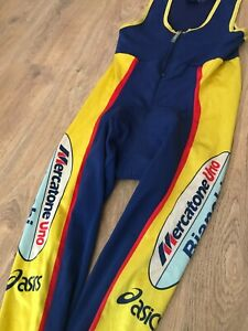 Mercatone Uno Bianchi Asics vintage mens padded cycling bib tights pants size L