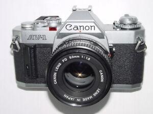 Canon AV-1 35mm SLR Film Manual Camera with Canon 50mm F/1.8 FD Lens * Ex++