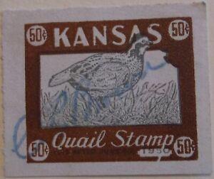 US Stamp State Revenue Kansas Quail Hunting 1950 Used