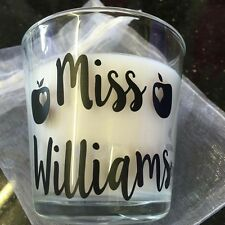 Vinyl Decal/Sticker Glass Candle Personalised Teacher