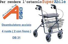 Deambulatore acciaio per anziani - Rollator 4 ruote - Terza età - Ausili