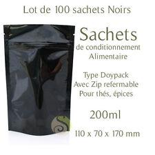 Lot de 100 Sachets Type doypack Noir 200ml emballage conditionnement épices thé