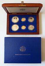 1986 US Liberty Commemorative 6 Coin Set Silver/Gold Proof/BU OGP W/Box & COA