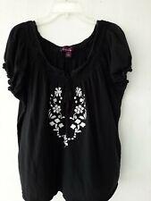 Gloria Vanderbilt Size 2X Woman Black Top Blouse Cotton Pre-owned