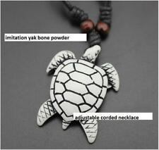 Cool Ethnic Tribal Yak Bone White Lucky Charm turtle Pendant Surfer Necklace