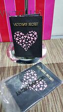 Victoria's Secret  VS Printed 2 fold Passport Holder - Black w/ Pink Hearts